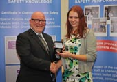 Janina Zambrzycka is presented with the inaugural Niall Condon Pfizer Process Safety Award