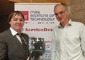 Conor Considine makes presentation to Dr. Frank Riedewald of Composite Recycling Ltd