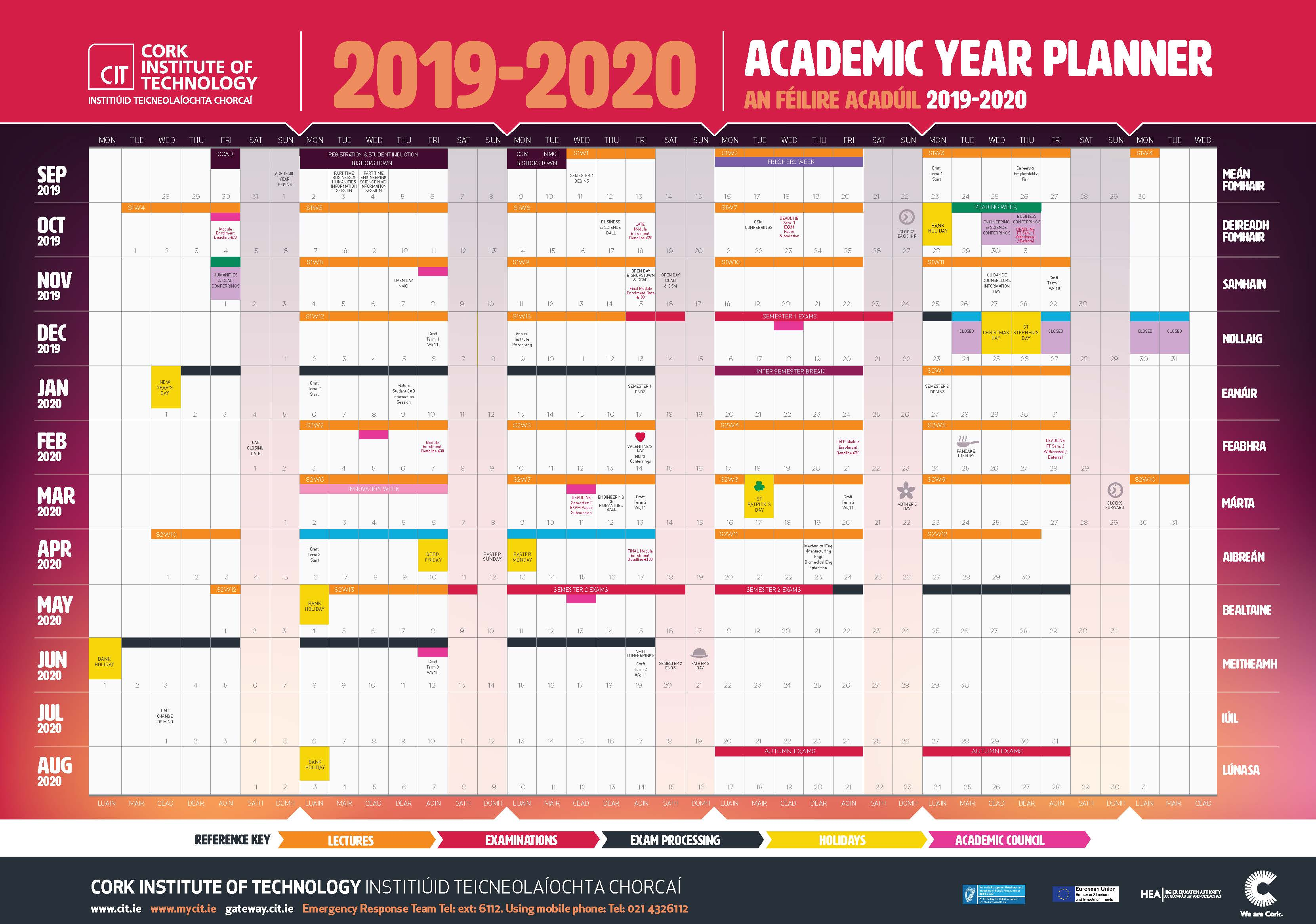 Calendario Estate 2020.Cit Cork Institute Of Technology Semester Dates And Calendar