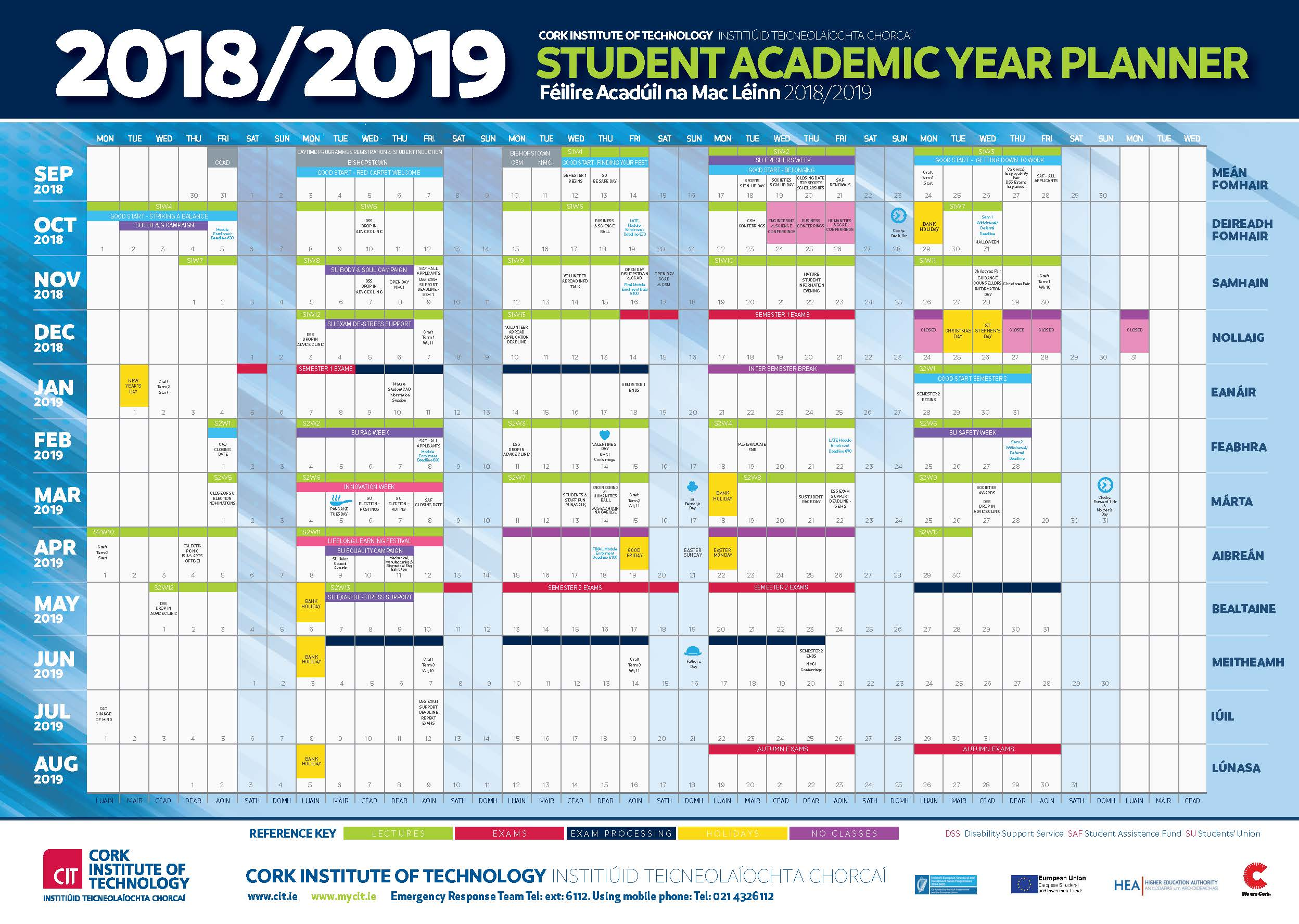 Life University Academic Calendar.Cit Cork Institute Of Technology Semester Dates And Calendar